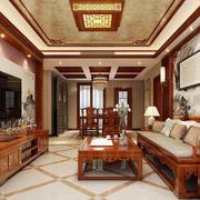 中式风格大户型室内客厅电视背景墙装修效果图赏析