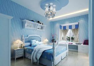 地中海风格大户型蓝色儿童房装修效果图