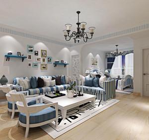 地中海风格大户型客厅照片墙装修效果图赏析