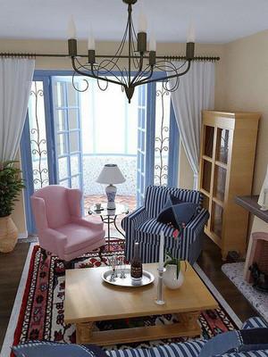 地中海风格小户型客厅阳台设计装修效果图赏析
