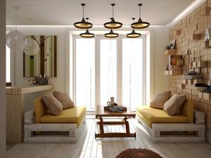 现代美式风格小户型客厅沙发装修效果图