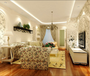 欧式田园风格大户型室内客厅装修效果图鉴赏