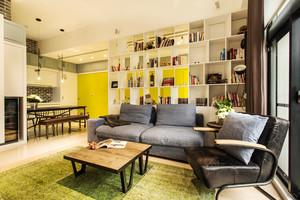 63平米都市清新风格一居室小户型室内装修效果图案例