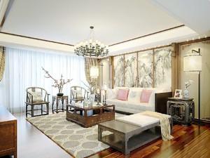 新中式风格大户型室内客厅背景墙装修效果图赏析