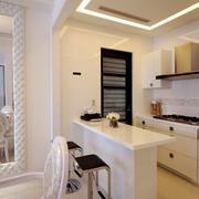 简欧风格三居室开放式厨房吧台设计装修效果图