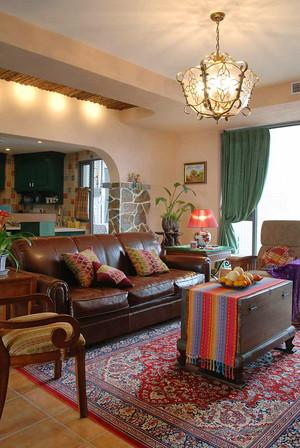 136平米东南亚风格两室两厅一卫室内装修效果图