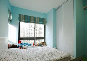 清新风格浅蓝色榻榻米床设计装修效果图
