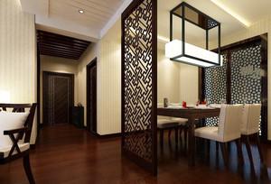 新中式风格两居室室内餐厅隔断设计装修效果图