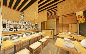 88平米日式风格餐厅设计装修效果图案例