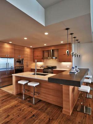 宜家风格简约大户型室内开放式厨房吧台装修效果图