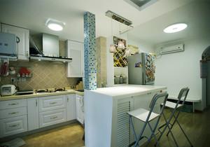 地中海风格小户型开放式厨房吧台装修效果图