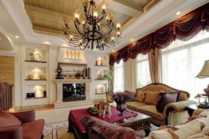 220平米复古美式风格复式楼室内装修效果图赏析