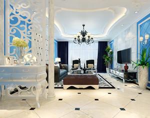 简欧风格大户型室内客厅隔断设计装修效果图赏析