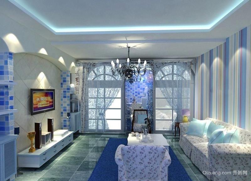 地中海风格大户型精美客厅窗帘装修效果图赏析