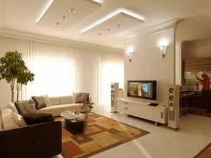 现代风格两居室室内客厅隔断墙装修效果图赏析