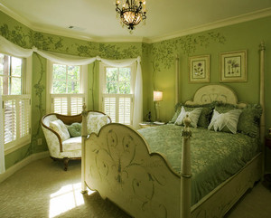 欧式田园风格浅绿色卧室装修效果图赏析