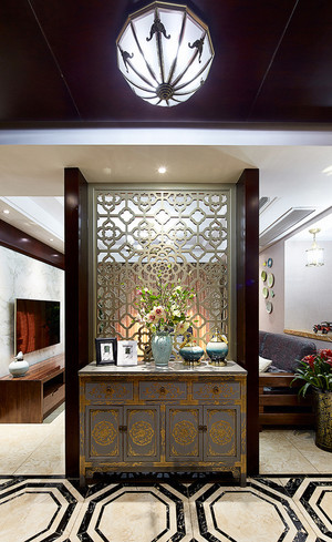 新中式风格大户型室内玄关柜设计装修效果图赏析