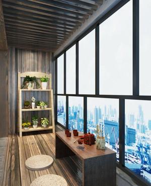 日式风格大户型封闭式阳台榻榻米设计装修效果图