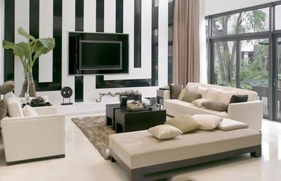 现代简约风格客厅电视背景墙装修实景图