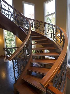 美式乡村风格别墅楼梯装修实景图
