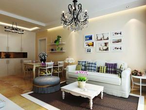 83平米欧式田园风格两室两厅室内设计效果图案例