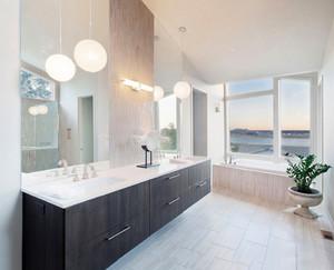 现代简约美式风格大户型卫生间浴室柜设计装修效果图