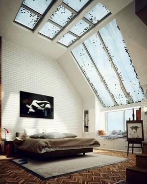 后现代风格创意裸砖卧室背景墙装修效果图赏析