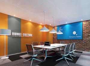 40平米现代简约风格会议室背景墙装修效果图赏析