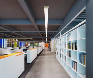 160平米现代简约风格办公室隔断设计装修效果图