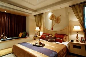 东南亚风格两居室室内卧室背景墙装修效果图