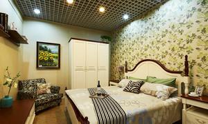 108平米美式混搭风格三室两厅室内装修效果图案例