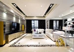 简欧风格大户型室内精美客厅装修实景图赏析