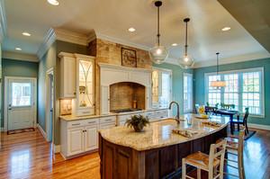 美式风格别墅室内精致开放式厨房吧台装修效果图