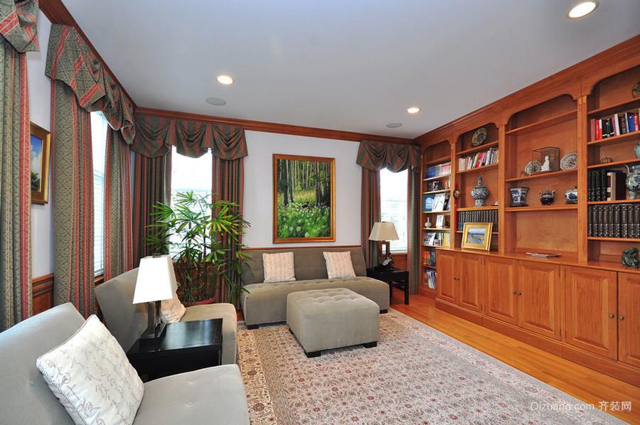 复古美式风格别墅室内书房设计装修效果图