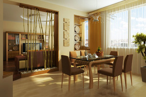 乡村风格两居室客厅餐厅隔断设计装修效果图赏析