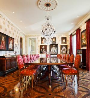 新古典主义风格别墅室内餐厅背景墙装修效果图