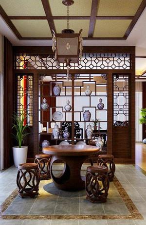 中式风格大户型室内餐厅博古架装修效果图赏析
