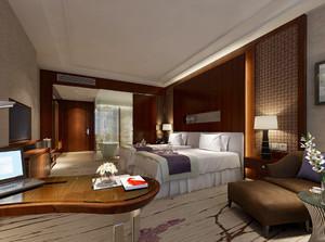 70平米中式风格酒店客房设计装修效果图