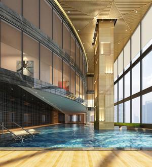 600平米现代风格豪华五星级酒店游泳池装修效果图