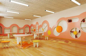 60平米现代简约风格幼儿园墙面布置效果图赏析