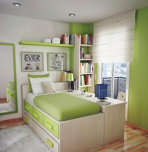 现代简约风格浅绿色儿童房装修效果图赏析