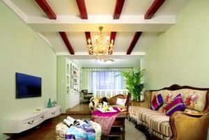 141平米田园风格三室两厅两卫设计装修效果图
