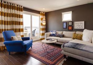 现代风格时尚色彩混搭小户型客厅沙发装修效果图