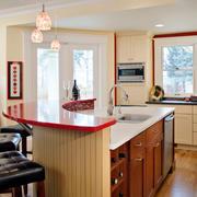 新古典主义风格别墅室内厨房橱柜设计装修效果图