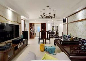 129平米中式风格两室两厅婚房装修效果图案例