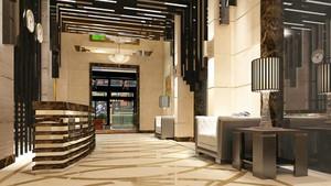 新中式风格宾馆前台设计装修效果图赏析