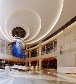 300平米简欧风格酒店大堂设计装修效果图