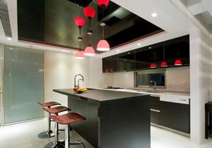 现代简约风格大户型室内开放式厨房吧台装修效果图