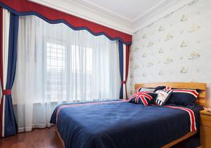 美式风格大户型室内卧室窗帘设计装修效果图