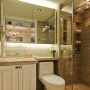 简欧风格两居室卫生间玻璃隔断装修效果图
